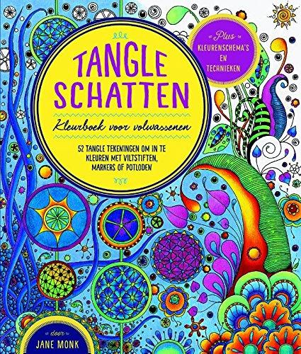 Tangle schatten: kleurboek voor volwassenen; 52 tangle tekeningen om in te kleuren met viltstiften, markers of potloden