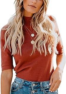 Women's Plain T-Shirt Mock/Turtle Neck Half Sleeve Solid...