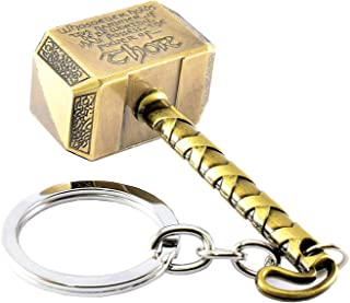 SWETHAS Thor Hammer Key Chain - Brass With Wording Metal