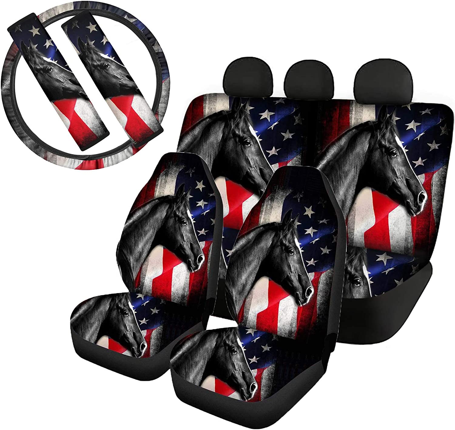 GePrint Black Horse Pattern Seat Cover Cushion for Truck Sedan Vans SUV Cars,USA Flag Stable Elastic Steering Wheel Cover with Soft Shoulder Strap Seatbelt Cover Full Set of 7 Gift