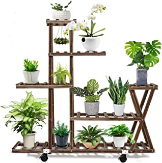 Wooden Flower Stands, 5 Tiers Tall Plant Stand with 10 pots Holder, Plant Display Stand Plant Pot Shelf for Indoor & Outdo...