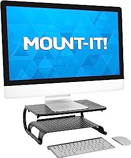 MOUNT-IT! 2 Tier Desk Organizer Riser | Computer Monitor Stand with Keyboard Storage Shelf for Desktops, Laptops, Printers...