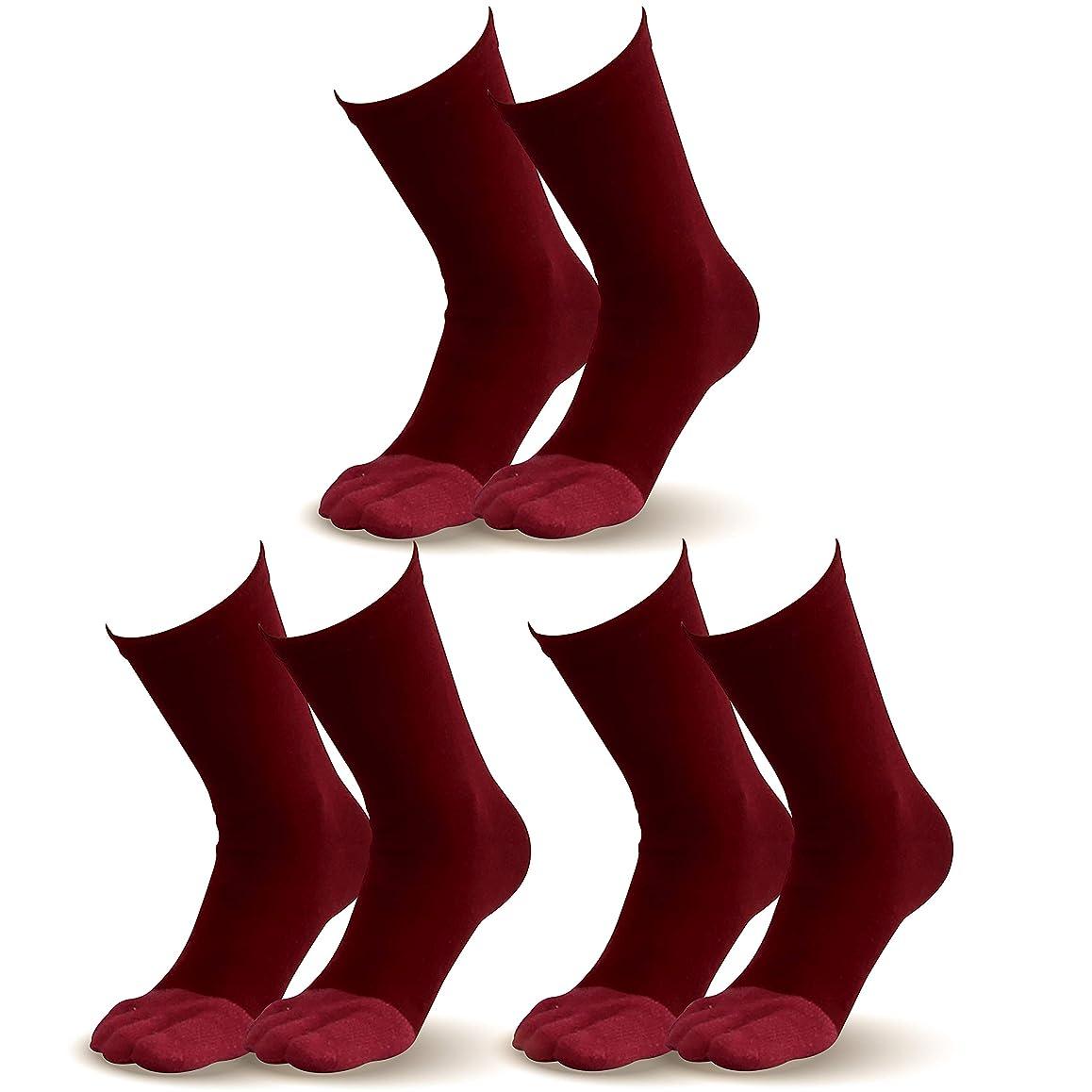 パレード危険にさらされているトランスペアレント【指先まであったか靴下】とってもお得な3足組 エンジ 新年 お正月 温かい暖かい 遠赤外線加工セラミック伸びる外反母趾対策健康5本指ソックス