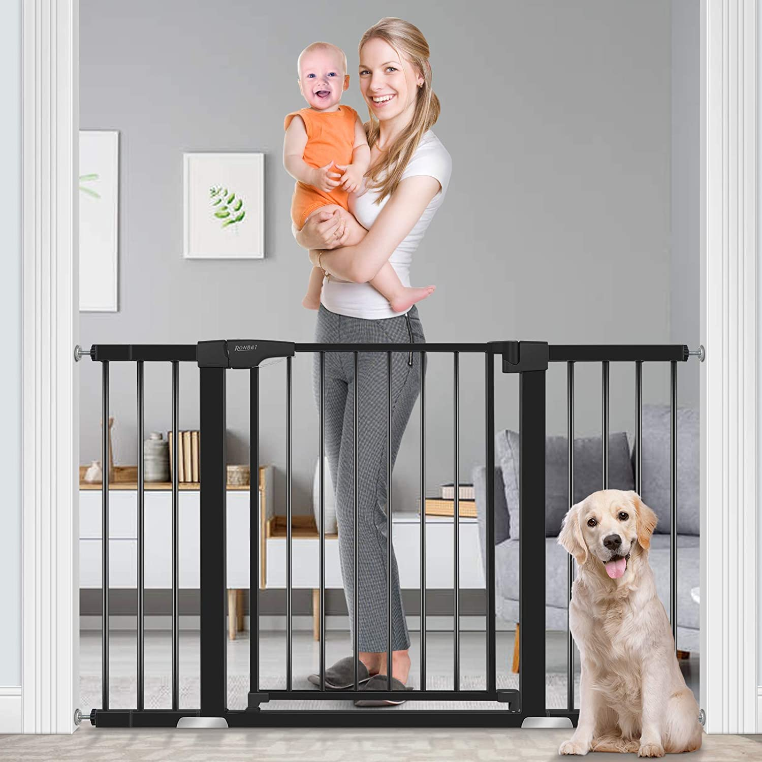 Baby Gate for Doorways and Stairs, RONBEI 51.5