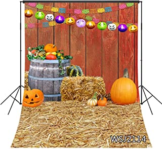 LB Halloween Backdrops for Photography Pumpkin Lantern Banners Straw Rustic Wood Farmhouse Photo Background for Kids Autumn Harvest Backdrop for Pictures Customized 5x7ft Photo Booth Props