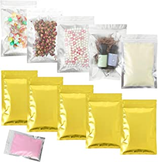 SumDirect 100pcs 5x7Inch Gold Smell Proof Bags,Resealable Ziplock Mylar Bags, Aluminum Foil Bags with Frost Front for Party Favors Candy Gifts Food Storage