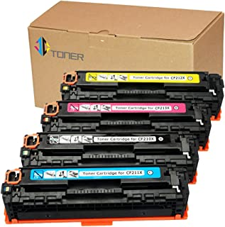 JC Toner Compatible for 128A CE320A CE321A CE322A CE323A Toner Cartridges for use with Color Laserjet CP1523n CP1525nw CM1415fnw, MF8080cw MF8050cn(B/C/Y/M-4 Pack)
