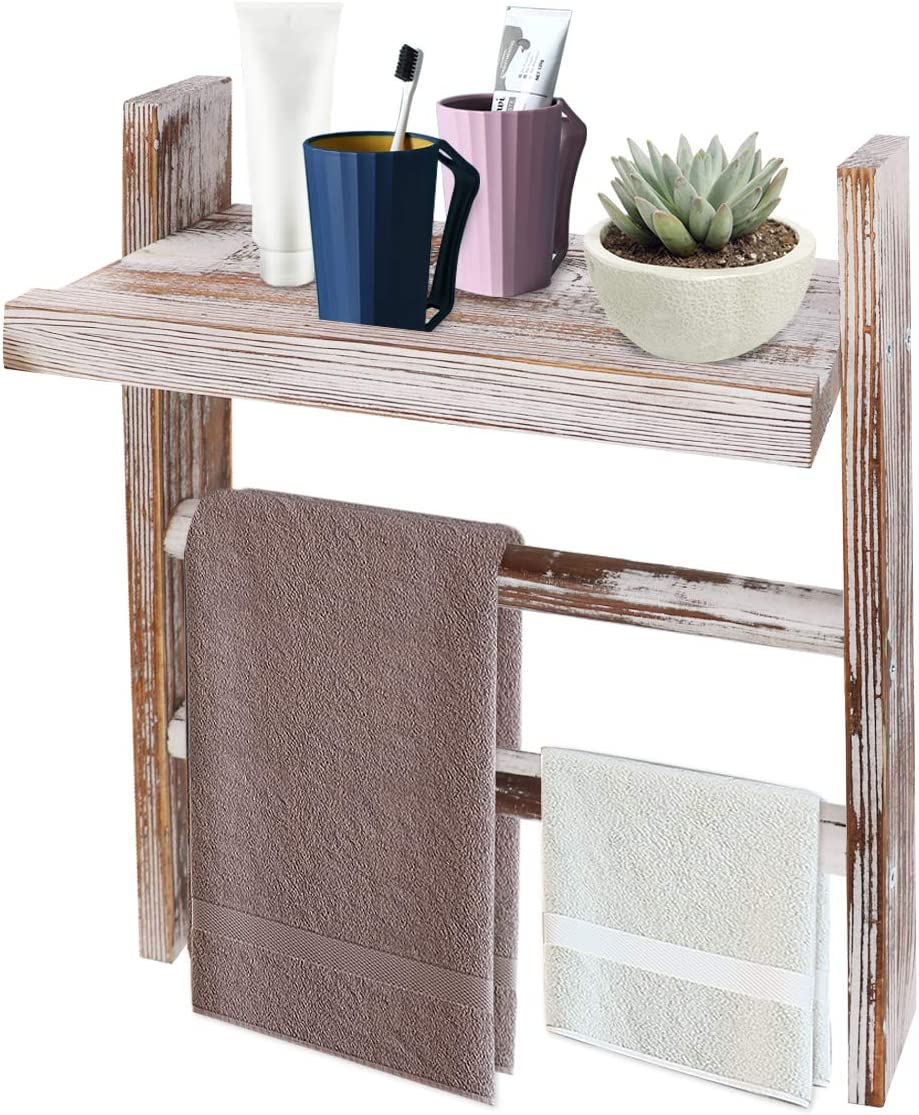Honest Wood Towel Rack Mail order Long-awaited cheap with for Wall Mounted Shelf Ladder