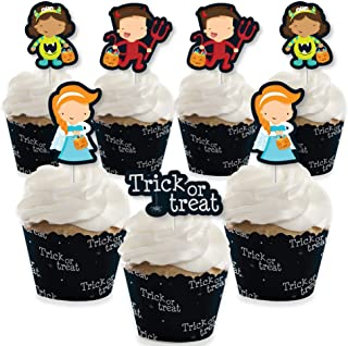 Big Dot of Happiness Trick or Treat - Cupcake Decoration - Halloween Party Cupcake Wrappers and Treat Picks Kit - Set of 24