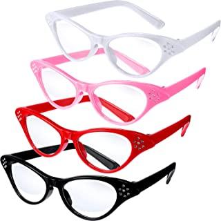 Jovitec 4 Pieces Cat Eye Glasses with Rhinestones 50's 60's Theme Party Classic Glasses for Retro Costume Dress Up Party Favor
