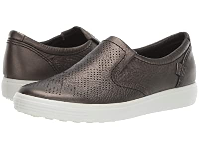 ECCO Soft 7 Casual Slip-On (Black/Stone Metallic Cow Leather) Women