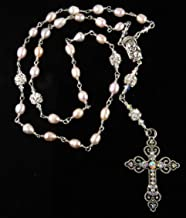 Handmade Unbreakable Anglican Episcopal Rosary Pink Cultured Freshwater Pearls and Rhinestones