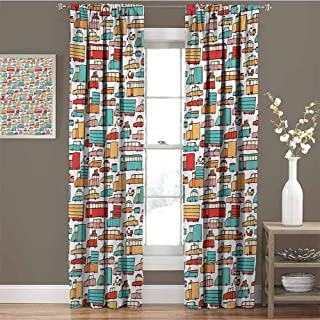 GUUVOR Cars for Bedroom Blackout Curtains Children Drawing of Many Vehicles Motorbikes Caravans Trucks Taxis Buses Print Blackout Curtains for The Living Room W42 x L84 Inch Aqua Red Orange