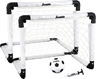 Franklin Sports Indoor Soccer Goal Set - Includes Two 22 x 17 Inch Goals, Soccer Ball, and Pump