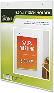 Nu-Dell Sign Holder - Acrylic - 1 Each - Clear