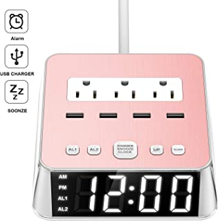 Yostyle Alarm Clock Charger w/4 Surge Protector USB Ports & 3 ACOutlets, 6ft Cord Power Strip Station for Hotel Home,UL Tested (Dual Alarm,4 Dimmer Brightness,Snooze,ON/Off Switch,Battery Backup)