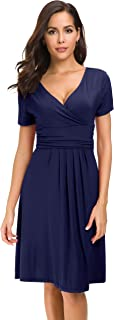 Afibi Short Sleeve Ruched Empire Waist V-Neck Fit and Flare Cocktail Dress