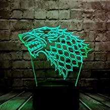New LED Lamp Game of Thrones House Stark Wolf Dragon Logo 3D Acrylic Night Light Multicolor RGB Bulb Christmas Decorative Mood Lava Xmas Birthday Friends Gift Kids Toy(Game of Power Wolf)