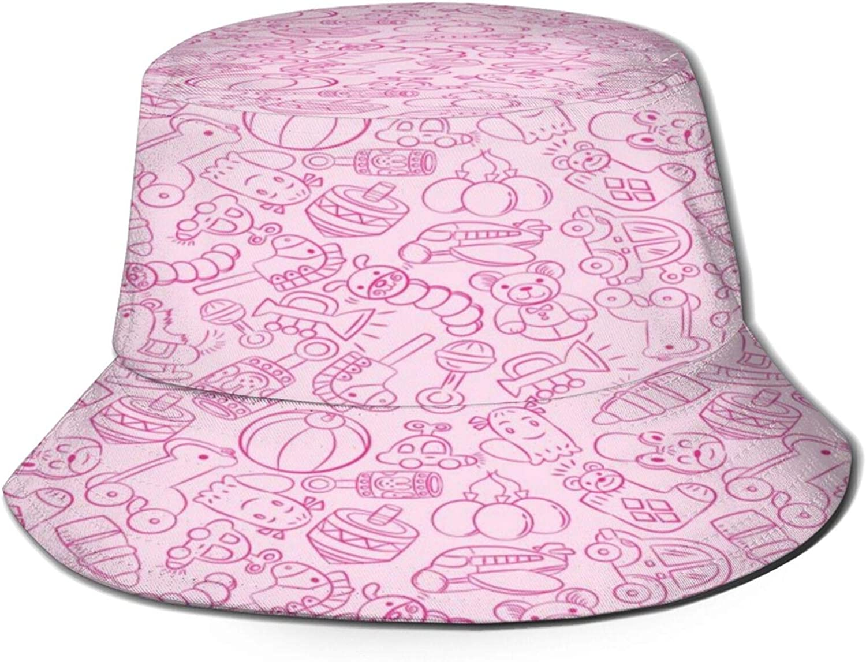 Baby Toy Pattern Bucket Hat Unisex Sun Hat Summer Packable Fisherman Hats Black