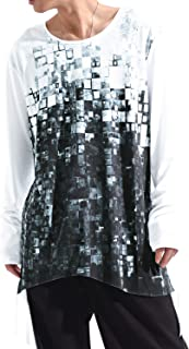 バレッタ 日本製 裾テープ使い ロング丈 プリント ロングTシャツ ロンT 長袖 クルーネック メンズ