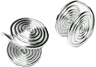 Silver Tone Wire Wrapped Clip-on Earrings about 12mm Handmade in USA by Earlums