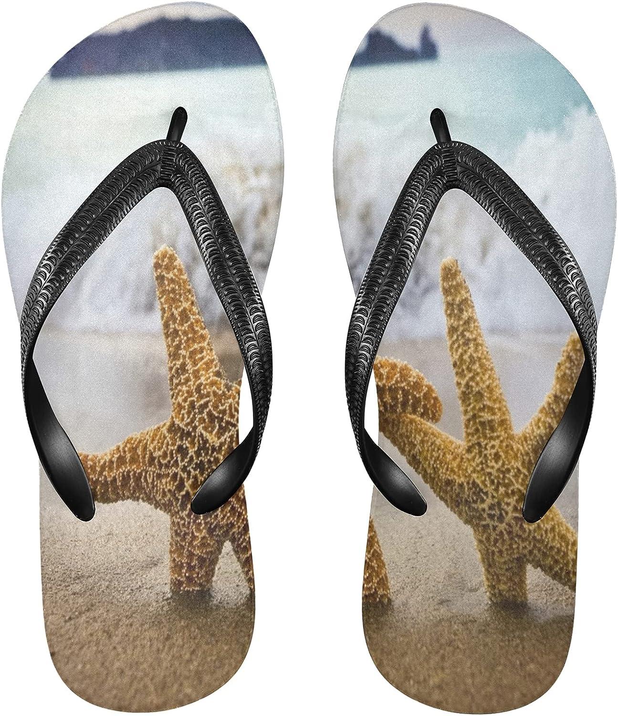 Nander Sea Starfish Women's Sandal Flip Flops Soft Comfortable Beach Slippers Unisex Adult Durable Flip Flops Shower Shoes