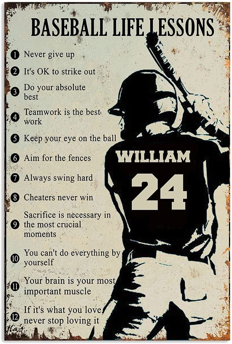 Personalized Baseball Life Lessons Poster, Gift for Sons, Boyfriends, Baseball Players, Sports Lover, Custom Name/Number Vertical Poster, Wall Art Living Decor Size 12