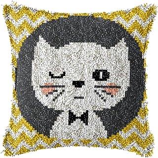 Lanrui Crochet de loquet Kits DIY Coussin Coussin Broderie Crochet Kit Taie d'oreiller Kit de Couture pour Adultes Enfants...