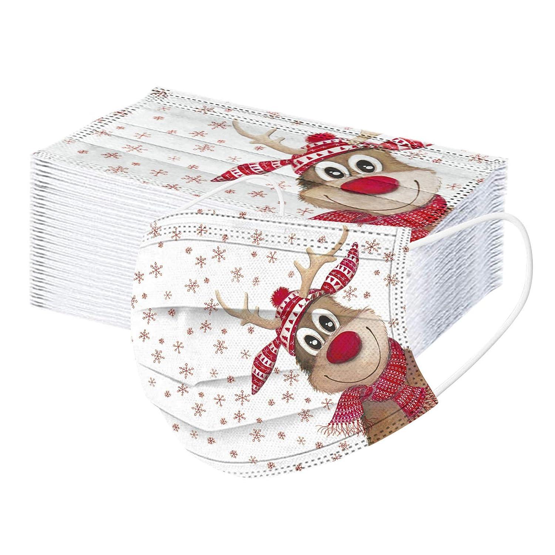 Agradable a la Piel NONGMIN1119 Ajustable Bandanas faciales para Navidad en Interiores y Exteriores c/ómoda 10piezas linda Ma/_scarilla con estampado de dibujos animados para Adultos