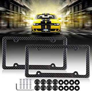 License Plates Frames Car Licenses Plate Covers Aluminum with Screw Caps 2 Pcs 4 Holes Powder Coated Plate Cover Frame Shield Combo