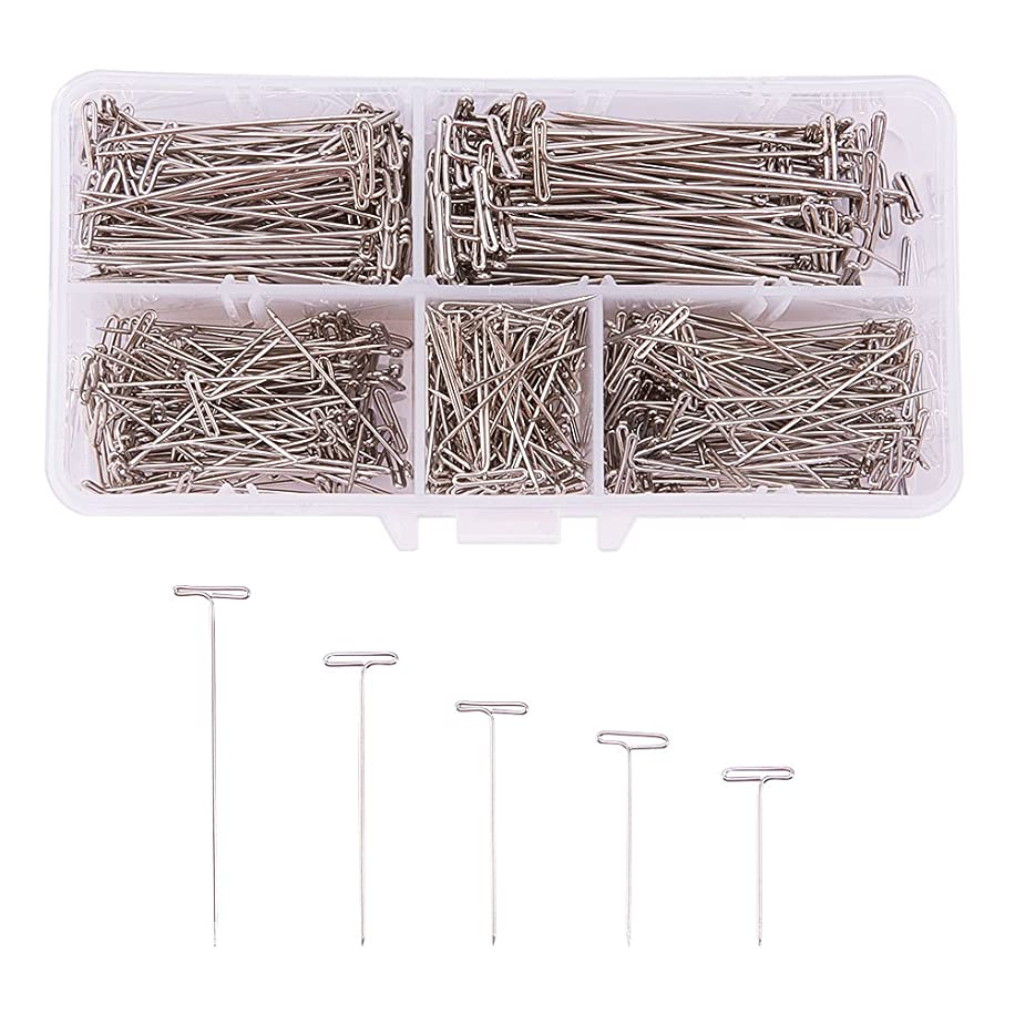 PandaHall Elite 500pcs 5 Size Stainless Steel T-Pins Sewing Craft Pins Needles 1 Inch, 1-1/4 Inch, 1-1/2 Inch, 1-3/4 Inch, 2 Inch for Blocking Knitting, Modelling and Crafts