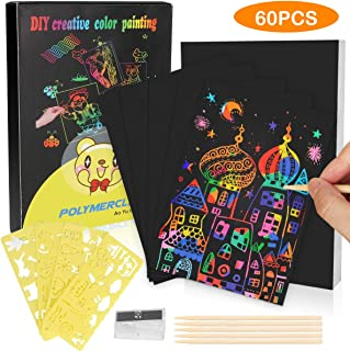 Jesdoo Scratch Art Paper for Kids,60 Pcs Rainbow Magic Scratch Off Arts and Crafts Supplies,Easter Party Game Christmas Birthday Gift