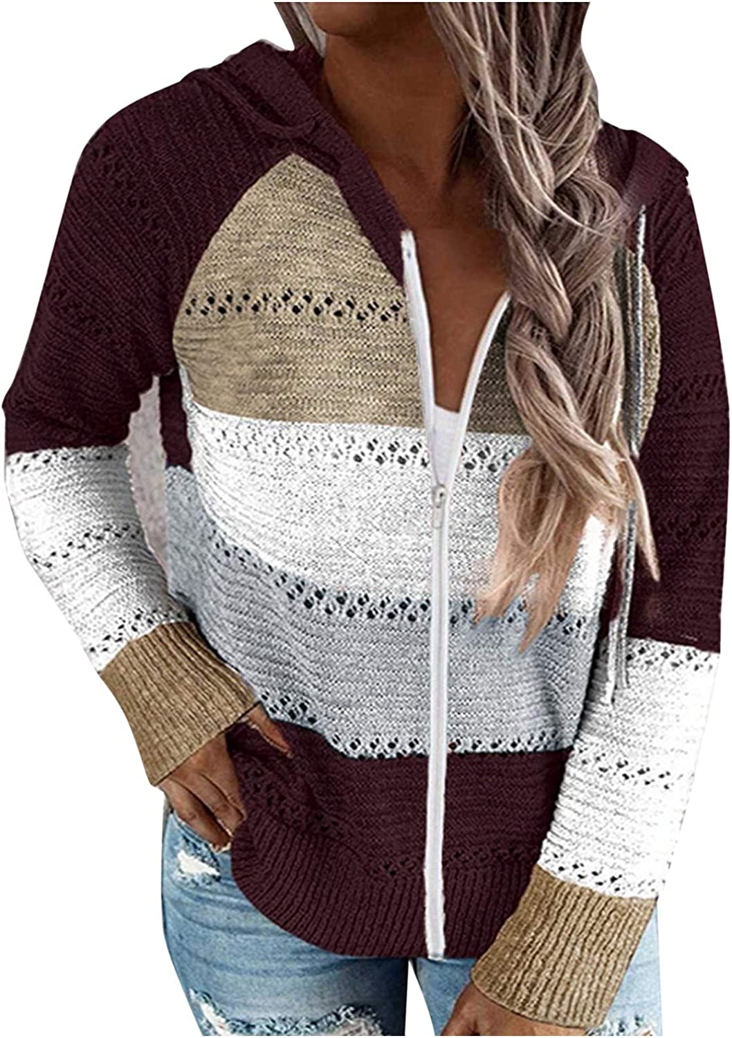 AODONG Sweater for Women Casual Color Block Knitted Cardigan Long Sleeves Sweatshirts Zippered Drawstring Hooded Tops