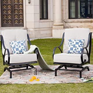 Top Space Rocking Motion Patio Chair Outdoor Deep Seating Club Chair Metal Furniture Set with Soft Cushion Sturdy Metal Frame Furniture for Garden Yard Lawn Poolside (2PCS, White)