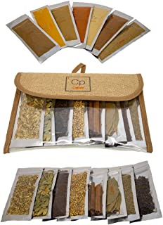 Cpise 15 ORGANIC Indian Spice & Seasoning Set - Ground Whole Indian Spices: Bay Leaves, Brown Mustard, Cardamom, Cayenne, ...
