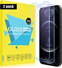 """MoKo Compatible with New iPhone 12 Pro Screen Protector/iPhone 12 Screen Protector 6.1 inch 2020 2-Pack, Anti-Blue Light Screen Protector Eye Protection Glass Film Fit iPhone 12 6.1"""" - Light Blue"""