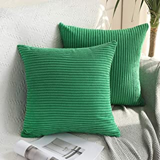 MIULEE Pack of 2 Corduroy Soft Solid Decorative Square Throw Pillow Covers Cushion Cases Pillow Cases for Couch Sofa Bedroom Car 16 x 16 Inch 40 x 40 cm, Green
