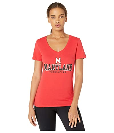 Champion College Maryland Terrapins University V-Neck Tee (Scarlet) Women