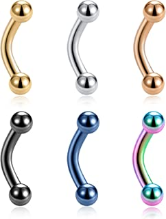 Tornito 6-12PCS 14G 6mm Short Bar Tiny Stainless Steel Belly Button Rings Navel Rings for Women Girls Barbell Body Piercing Jewelry