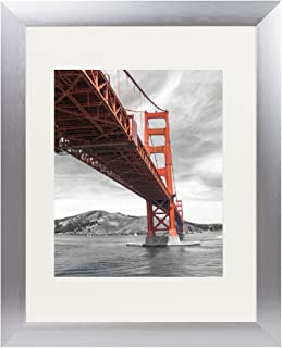 Frametory, 11x14 Metal Picture Frame Collection, Aluminum Silver Photo Frame with Ivory Color Mat for 8x10 Picture & Real Glass (11x14)