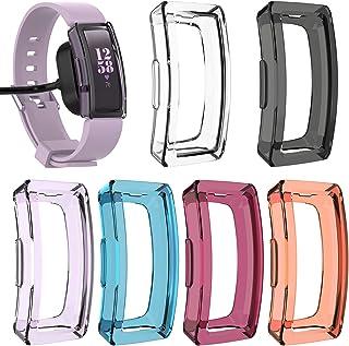[6 عبوات] حافظة واقية لجهاز Fitbit Inspirer & Inspirh، حافظة واقية متعددة الألوان شفافة ومرنة من مادة TPU فائقة النحافة من...