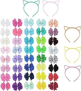 Horquilla de lazo de cinta de grosgrain fina de 45 piezas/banda para el pelo de gato, adecuada para adolescentes, niños pe...