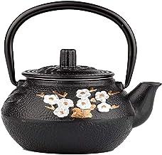 Gietijzeren zwarte waterkoker Gietijzeren theepotzeefset met roestvrijstalen filter, 300 ml