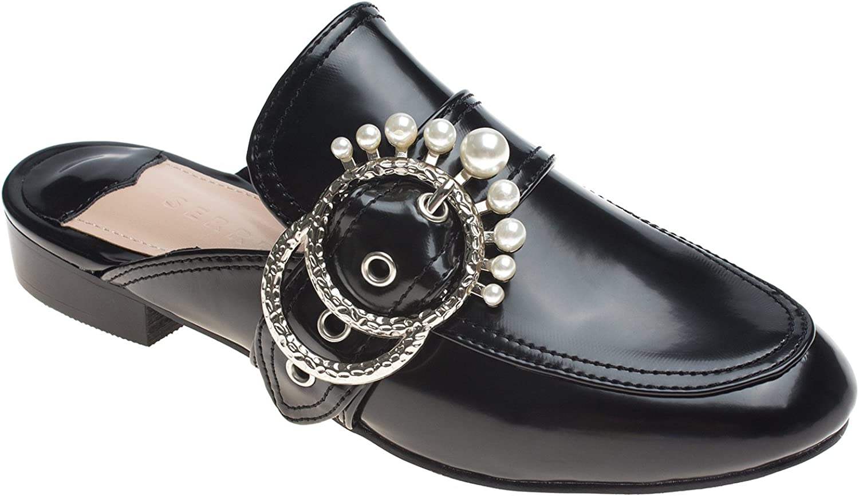 AnnaKastle Womens Imitation Pearl Buckle Flat Mule Dress shoes Slipper
