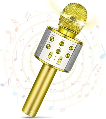 Tesoky Microphone sans Fil Bluetooth pour Enfants, Microphone Karaoké pour Android/iPhone/iPad/Sony/PC- Meilleurs Cad...