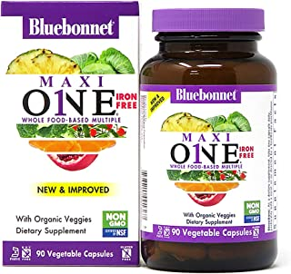 Bluebonnet Nutrition Maxi One (Iron-Free), Whole Food Multiple, Enzymes, Energy, Vitality, Gluten-Free, Kosher, Dairy-Free...
