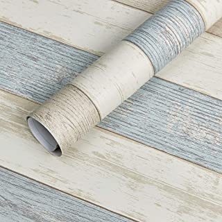 Homein Beach Wood Self Adhesive Paper Blue Decorative Matte Woodgrain Vinyl Film Furniture Stick Roll Waterproof Removable Peel and Stick Wallpaper Thick Roll for Countertop Drawer Liner 11.8x59inch