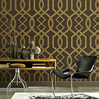 7266 Geometric Pattern Wallpaper Rolls, Gold/Brown Embossed Wall Paper Murals Bedroom Living Room Hotels Wall Decoration 20.8