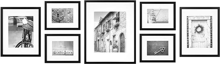 مجموعة جدارية جاليري بيرفكت مكونة من 7 قطع بإطار صور أسود مع مطبوعات فنية تزيينية وقالب معلق