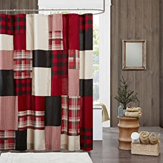 Woolrich Sunset Cotton, Plaid Lodge/Cabin Shower Curtains for Bathroom, 72 X 72, Red
